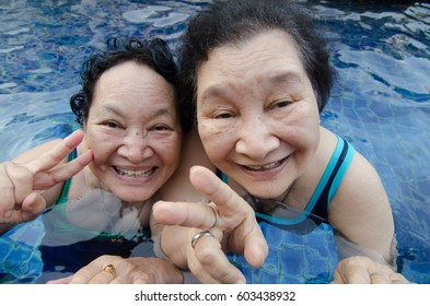 Senior woman in the pool