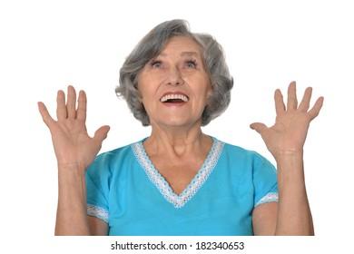 Senior woman portrait on a white background