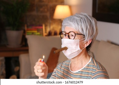 Senior woman in quarantine at home