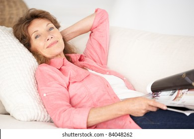 Senior woman relaxing at home