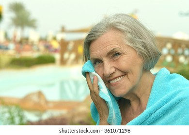 Senior woman at resort vacation