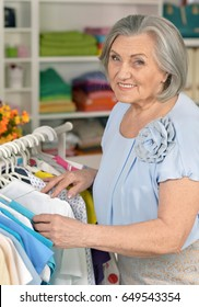 Senior woman in shop