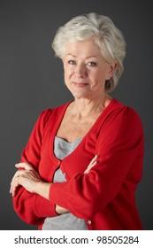 Senior woman studio portrait