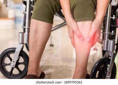 Senior woman suffering from calf muscle tear,Elderly women hands massage leg