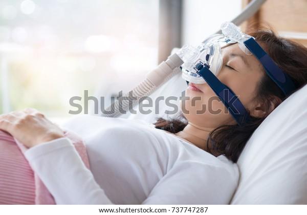 Senior Woman Using Cpap Machine Stop Stock Photo (Edit Now) 737747287