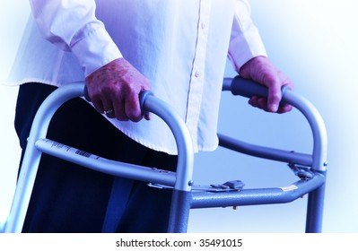 senior woman walking on walker