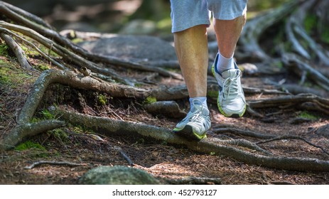 Senior woman walking over exposed tree roots on a path though a forest
