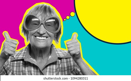 Senior woman wearing big sunglasses doing funky action - Collage in pop art style