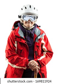 Senior woman wearing ski jacket and helmet over white background. With clipping path.