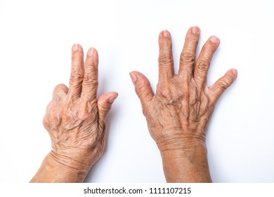 Senior woman's hands  counting 8 isolated on white background, Numbers 1-10 in sign language concept