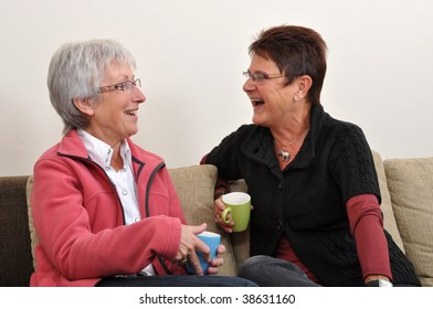 Senior women having their coffee chat at home