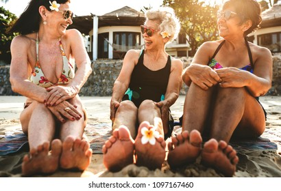 Senior women on the beach