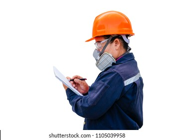 senior women protection cartridge respirator gas mask - close up.