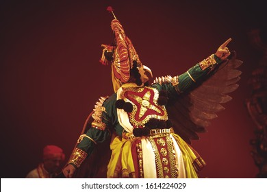 A senior yakshagana artist points to the sky at the event 'Drishti festival' which was staged in Chowdiah Hall,Bengaluru on January 11,2020