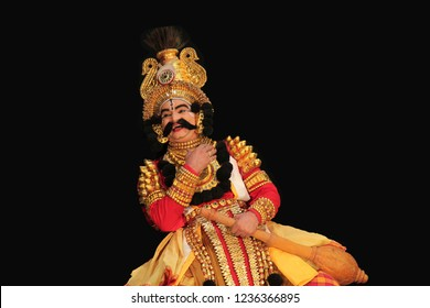 Senior Yakshagana artist showing  happiness during performance at the Yakshagana festival event held on July 27,2018 at Oaklands residence in Bengaluru,India