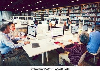 Seniors in a computer class