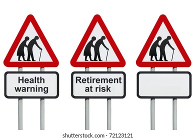 Seniors elderly health and retirement roadsign