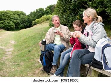 Seniors and grandchild take a break