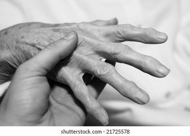 Senior's hand