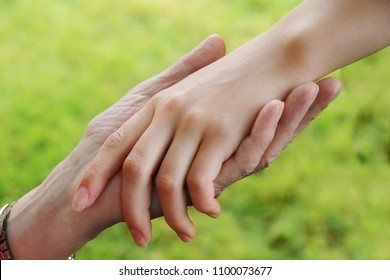 senior's hand holds the hand of a young woman, aid concept, green background, selected soft focus, narrow depth of field