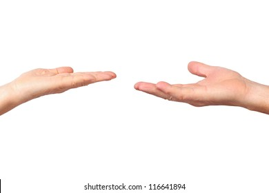 seniors hands, outstretched palm gesture, isolated