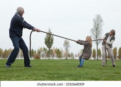 Seniors playing tug-of-war