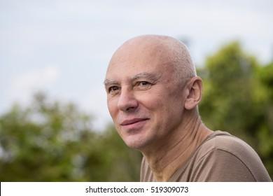Seniors portrait, happy old caucasian man. Close up