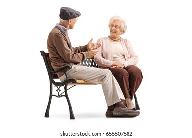Seniors sitting on a bench and having a conversation isolated on white background