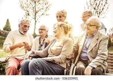 Seniors spending time at the park