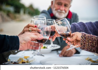 Seniors toasting with red wine at the beach