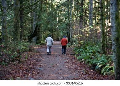 Seniors trail walking