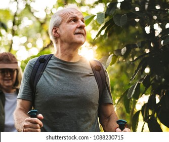 Seniors trekking in a forest