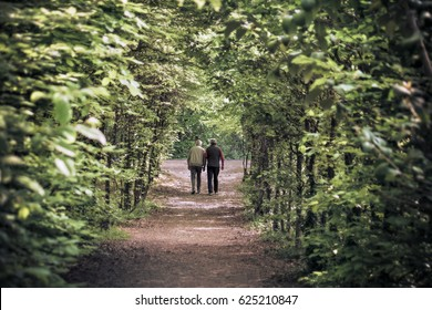 seniors walking away, the path is a natural tunnel with trees and foliage