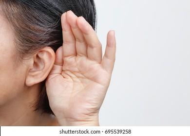 Seniors woman hearing loss , Hard of hearing