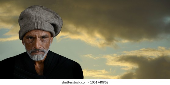 A seniour man from India Outdoors at Dusk