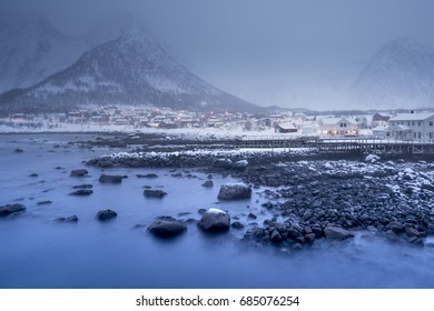 Senja peaceful village in the polar night longexposure