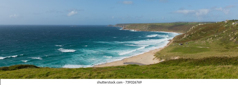 Sennen Cove Cornwall beach and coast near Land`s End tourist attraction panoramic view