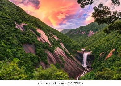 Senpiro-no-taki Waterfall in Yakushima Island, Japan This is most famous waterfall in this island.