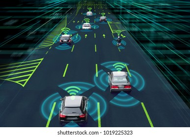Sensing system and wireless communication network of vehicle. Autonomous car. Driverless car. Self driving vehicle.