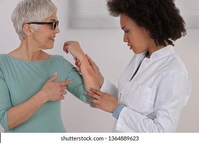 Sensitive Skin, Food allergy symptoms, Irritation. Doctor dermatolog and patient