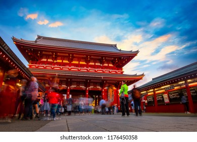 Sensoji - Asakusa Temple in Tokyo, Japan TOKYO, JAPAN - APRIL 29 2018: Crowded people at Sensoji temple, also known as Asakusa Kannon. Most popular for tourists and It's the oldest Temple in Tokyo