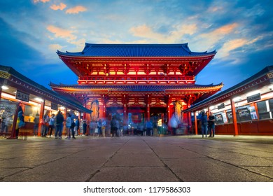 Sensoji - Asakusa Temple in Tokyo, Japan TOKYO, JAPAN - APRIL 29 2018: Sensoji templefounded in 628, also known as Asakusa Kannon. Most popular for tourists and It's the oldest Temple in Tokyo