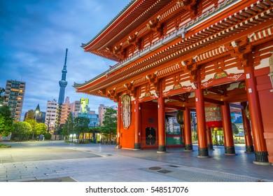 Sensoji Temple in Asakusa Area, Tokyo, Japan at Night