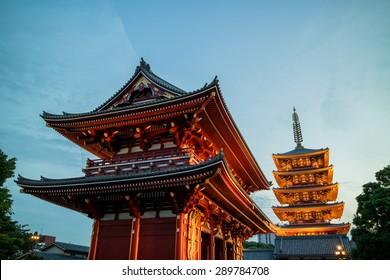 Senso-ji temple in Asakusa, Tokyo, Japan lit up in twilight