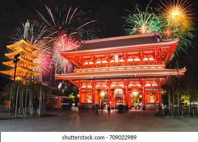 Sensoji temple at night with fireworks, Asakusa Tokyo Japan