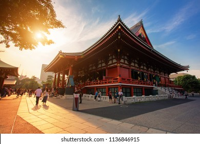 Sensoji Temple in Tokyo, Japan. Landscape of famous temple name Sensoji, the oldest popular landmark located in Tokyo, Japan.