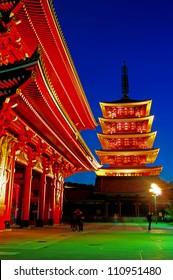 Sensoji-ji Red Japanese Temple in Asakusa, Tokyo, Japan