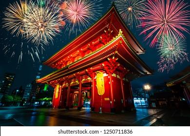 Sensoji-ji in Tokyo with fireworks display, Temple in Asakusa, Japan