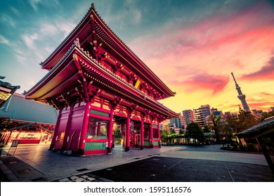 Sensoju Temple with dramatic sky and Tokyo skytree inTokyo, Japan - Shutterstock ID 1595116576