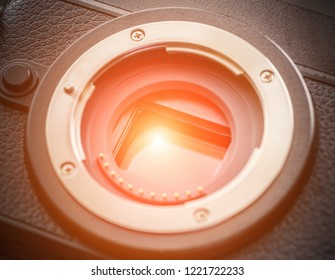Sensor of a mirrorless camera with sunlight effect.